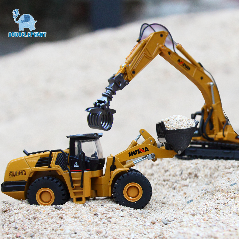 DODOELEPHANT 1:50 Engineering Vehicle Alloy Timber Grab Loader Excavator Car Vehicles Model Diecast Toy For Boys Children Toys