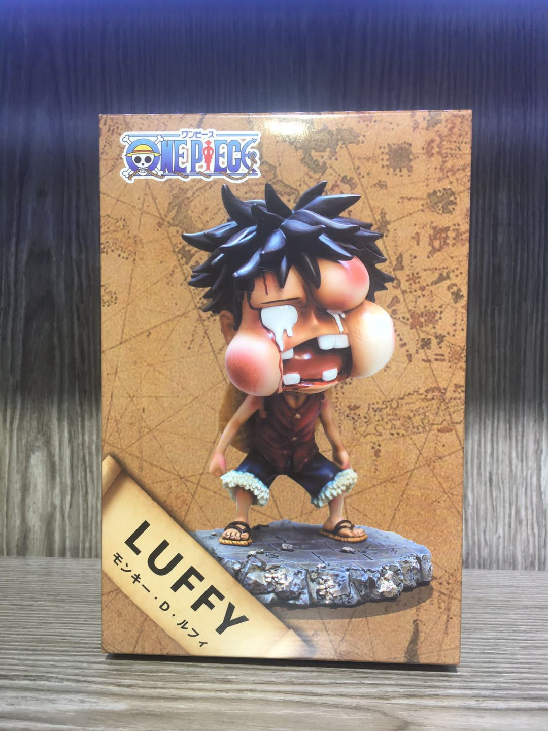 Anime One Piece Youth Beaten Luffy with Swell Face Cute Figure Model Toys