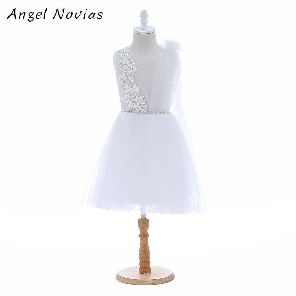 Angel Novias Short Cute White   Flower     Girls     Dresses   2018 with Belt for Wedding Knee Length Kids Prom   Dresses