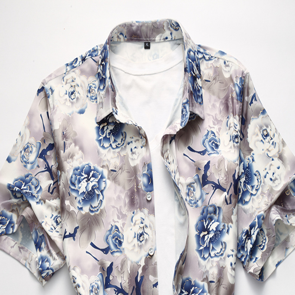 2018 Summer New Fashion Collar Men Shirt Short Sleeve Slim Fit Flower Print Shirt Male Designer Clothes High Quality Tops in Casual Shirts from Men 39 s Clothing