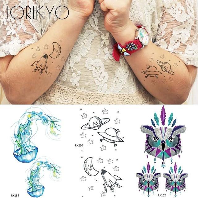 3d Watercolor Owl Jellyfish Flash Tattoo Children Arm Ufo Temporary