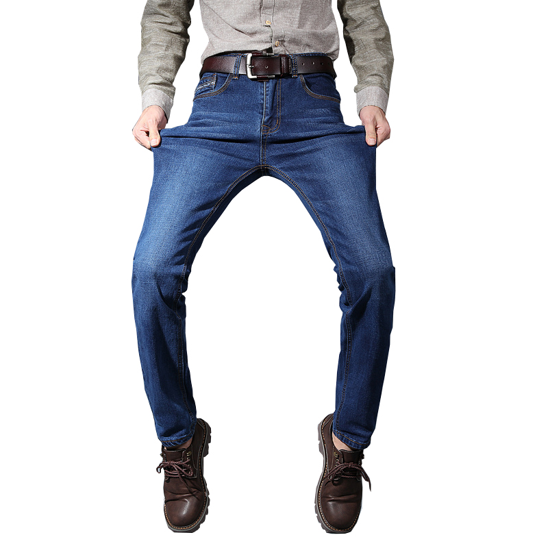 Summer mens brand jeans mens thin stretch retro retro jeans mens jeans business casual traveler solid color jeans plus