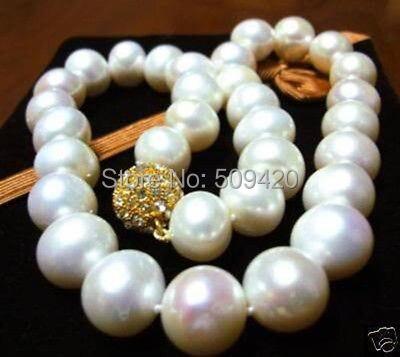 "W и O658 >> красивая 11- 12 мм белый жемчуг ожерелье 1"""
