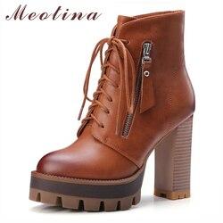 Meotina Femmes Bottes Talons hauts Cheville Bottes D'hiver Gothique Plate-Forme Moto Bottes Lace Up Zip Femmes Chaussures Gris Grande Taille 9 41 42