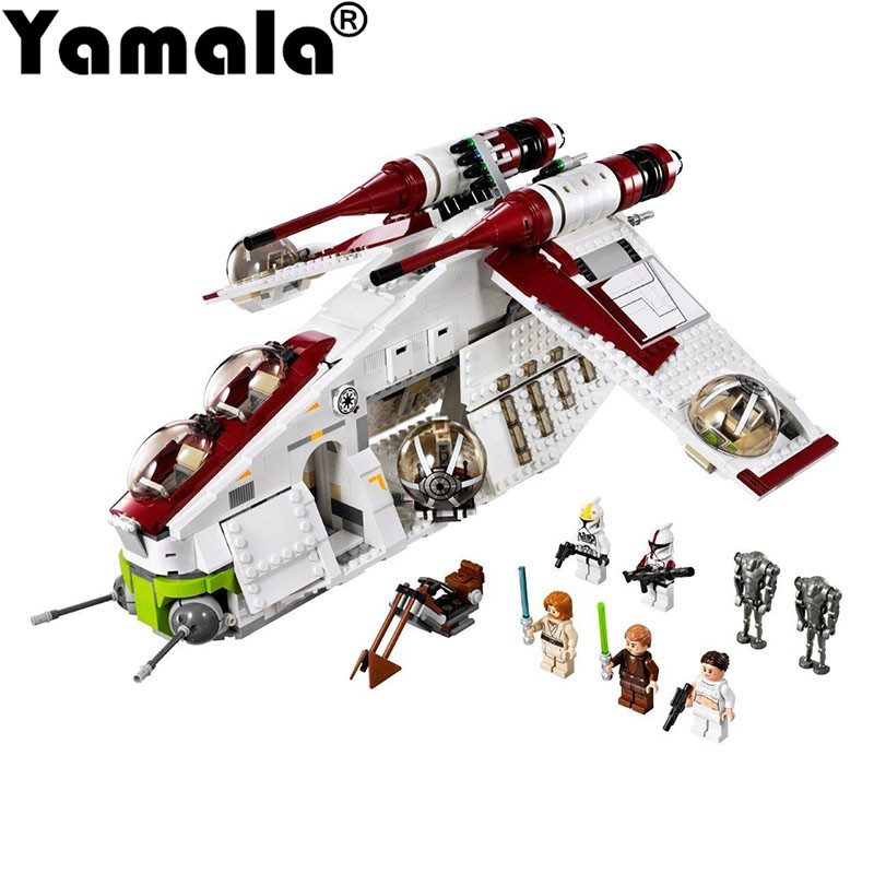 [Yamala] IN STOCK New Lepin 05041 Genuine Star War Series The The Republic Gunship Set Educational Building Blocks Bricks Toys led color changing spout chrome brass kitchen faucet pull out sprayer vessel sink mixer tap hot and cold water