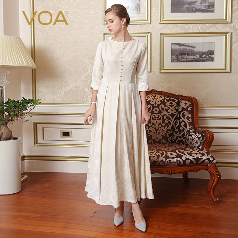 VOA Heavy Silk Jacquard Pearl Beading Swing Dress White Plus Size 5XL Bow Sashes Vintage Women Pleated Maxi Long Dress A7765