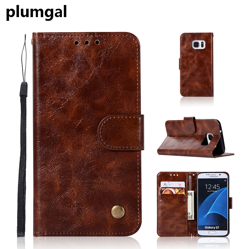 Plumgal Luxury Flip Vintage Leisure Phone Case For Sumsung Galaxy S7Edge S7 Stent Wallet Case For Galaxy S6 S6edge s5 Case Shell