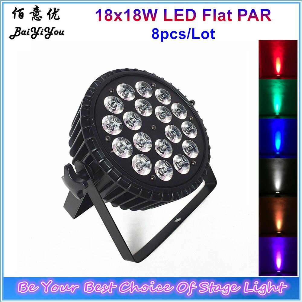 8x Aluminum Alloy LED Flat Par 18x18W RGBWA UV DJ Par Can Light DMX 512 Powercon