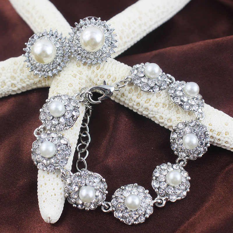 jiayijiaduo  Imitation pearls Jewelry Sets Bridal Bracelets Earrings Sets African Beads Jewelry Sets Silver color Prom Wedding
