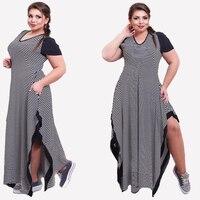 2017 Woman Striped Dress Summer Casual Black And White Stripe Split Dresses Plus Size Loose Women