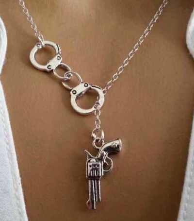 Lariat Polic Handcuff Gun Necklace Pendants Vintage Silver Charms Collar Statement Choke ...