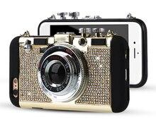 Приданое Me Мода Стиль Диаманта bling Ретро Камеры мягкий Силиконовый С Длинными ремень Веревка Задняя Крышка Крышка Для iPhone 7 6 6 S Плюс 5 5S