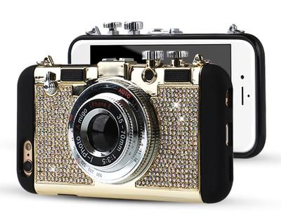 bilder für Dower Mich Mode-stil Bling Diamant Retro Kamera weiche Silikon Mit Lange gurt Seil Fall-abdeckung Für iPhone 7 6 6 S Plus 5 5 S