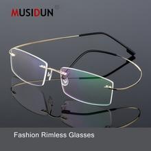 63190076a7c Superelastic fashion Optical Rimless Glasses Man woman Myopia Eyeglasses  Frame Ultra-light Memory Titanium Alloy
