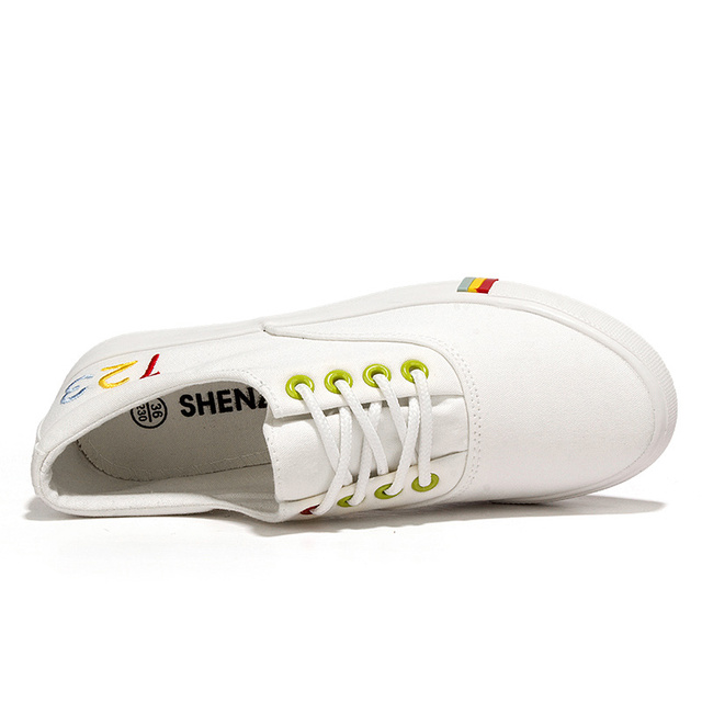 WOLF WHO Women Canvas Shoes Female Casual White Krasovki Girls Flats Superstar Tenis Feminino Casual Basket Femme Footwear H-108