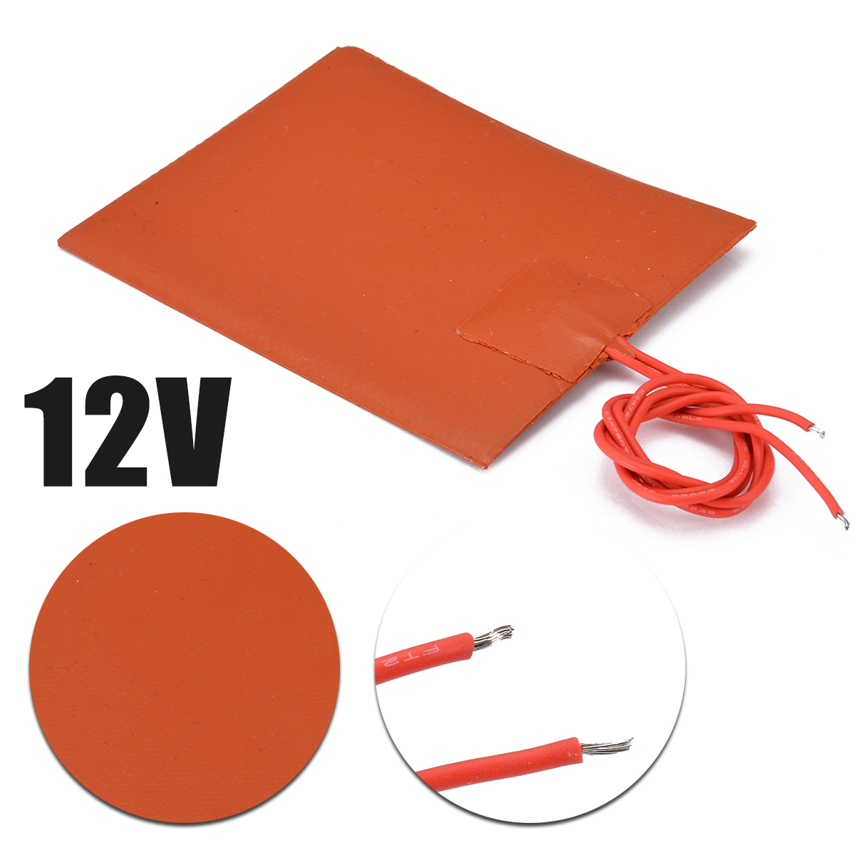 80x100mm 12V DC 20W Flexible Waterproof Silicone Heater Bed Pad For 3D Printer Heat Bed Electric Pads Red|Electric Heating Pads| |  - title=