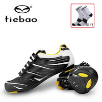 Tiebao Road Racing Bike Shoes Ultralight Mens Breathable Athletic SPD Self locking Professional MTB Cycling Bicycle Shoes 4color