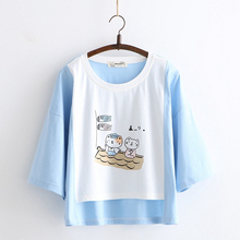 Merry Pretty Women Cartoon Print Cotton T Shirts Sweet Style Half Sleeve O-Neck Asymmetry Hem Shirt 2019 Summer Kawaii Tops
