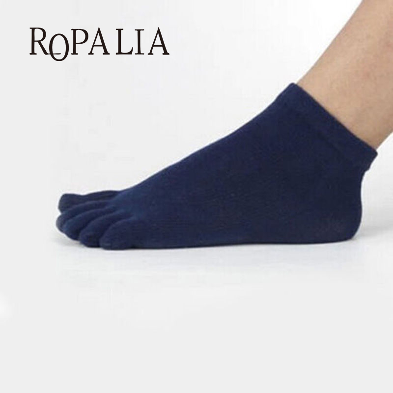 High Quality Men s Soft Five Finger Toe Socks Solid Cotton Socks Long Ankle Hot