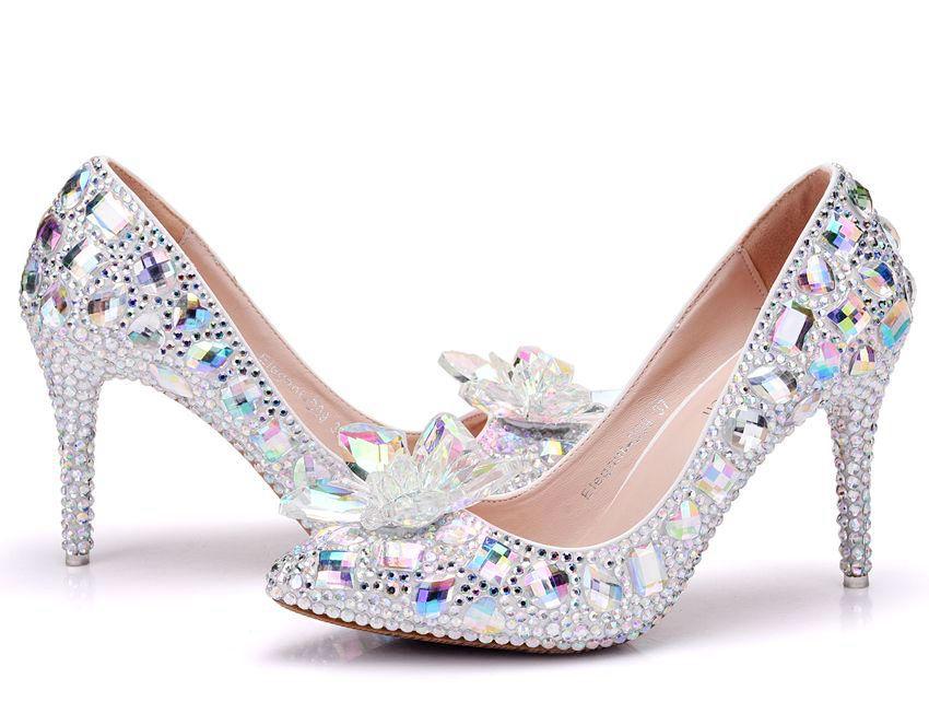 Nouvelles chaussures de mariée strass talons hauts 9.5 CM cendrillon chaussures femmes pompes bout pointu femme élégant cristal chaussures de mariage pompes