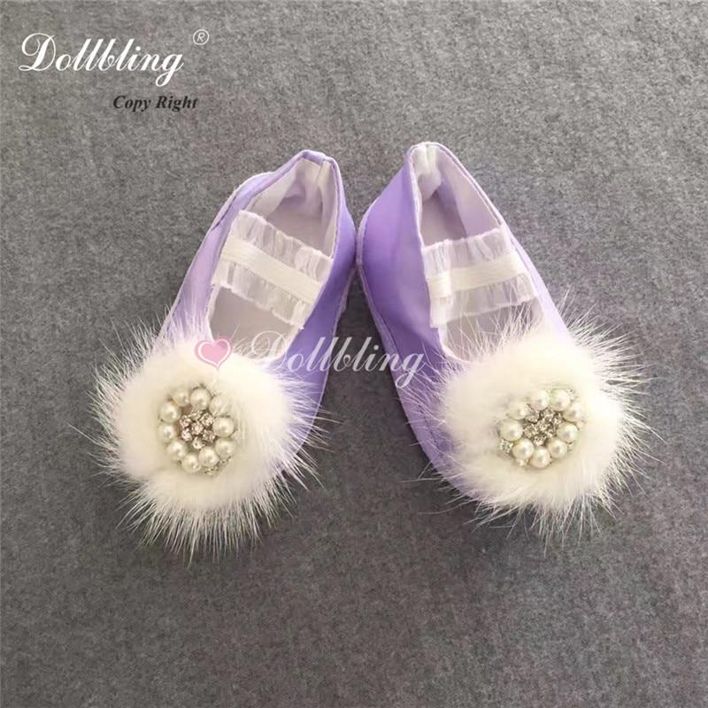 Boule de fourrure douce violette perles Orgament maternelle Glinda ange Etsy Pagent baptême berceau chaussures Bella Satin étincelle ballerine
