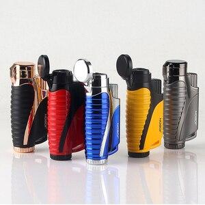 Image 2 - Encendedor de Gas butano de tubo, linterna de cigarro Turbo, encendedor, 3 boquillas, pistola de fuego a prueba de viento, Metal, 1300 C, sin GAS