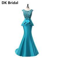 New Arrival Elegant A Line Long Dress Bow Sashes Evening Dresses Party Vestido De Noiva Formal Appliques Crystal Long Style