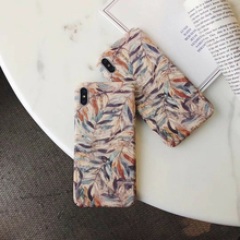 Retro Art oil painting Leaves Cover For iphone 7 8 6 Shockproof Hard PC Leaf Pattern Case for iPhone X XR XS MAX 6s Plus