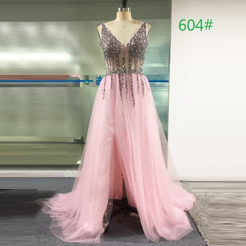 LORIE Prom Dresses 2019 Vestidos De Graduacion Deep V Neck Sexy - Särskilda tillfällen klänningar - Foto 6
