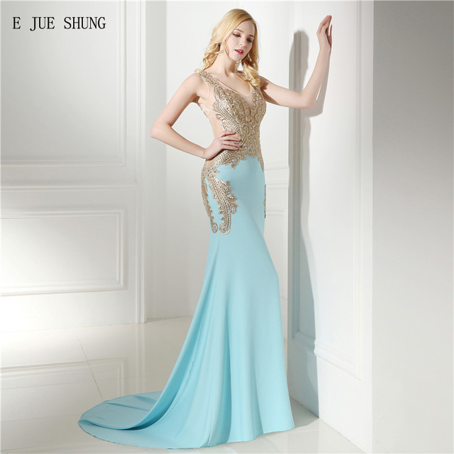 E JUE SHUNG Blue And Gold Lace Appliques