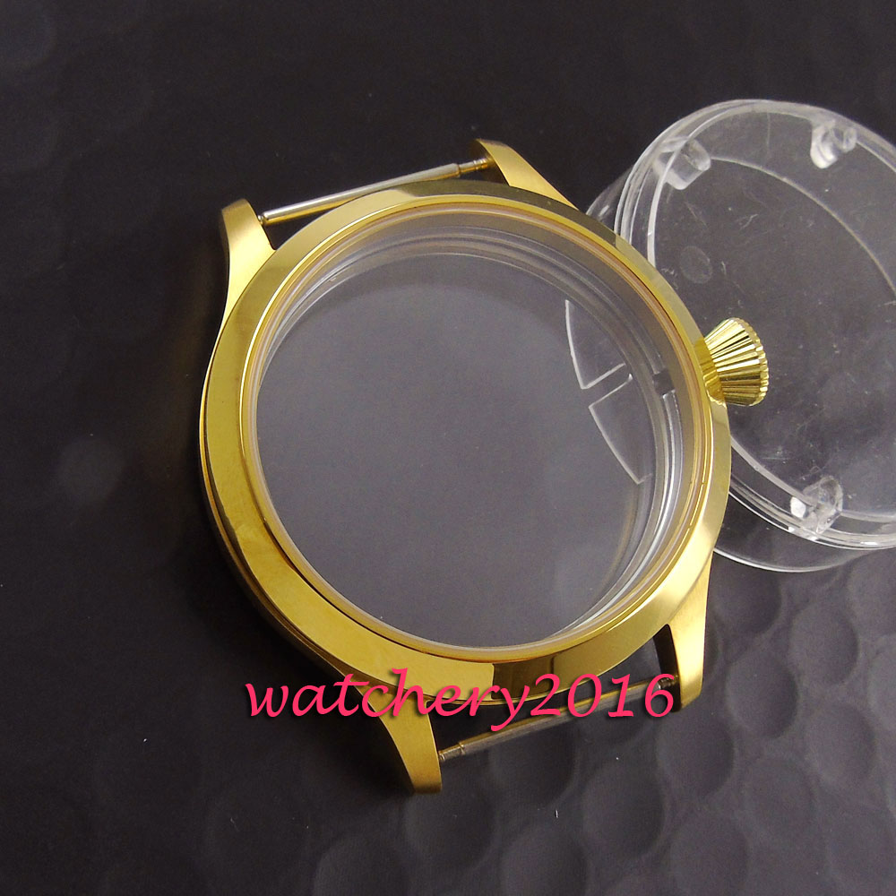 Polished 45mm Parnis rose golden stainless case fit eta 6497 6498 movement watch Case 46mm stainless steel rose golden parnis watch case fit 6498 6497 movement c21