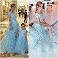 H007 Santo Lace Pageant Vestidos Da Menina de Flor para Casamentos 2016 Vestidos de Festa de Casamento Vestido De Noiva Elegante Mãe e Filha