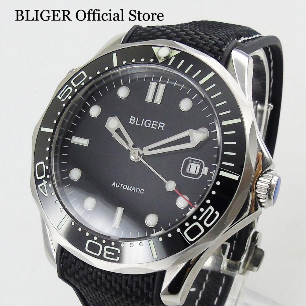Whloe Black Super Luminous Automatic Mens Watch With Date Window 41mm Wristwatch Rubber StrapWhloe Black Super Luminous Automatic Mens Watch With Date Window 41mm Wristwatch Rubber Strap