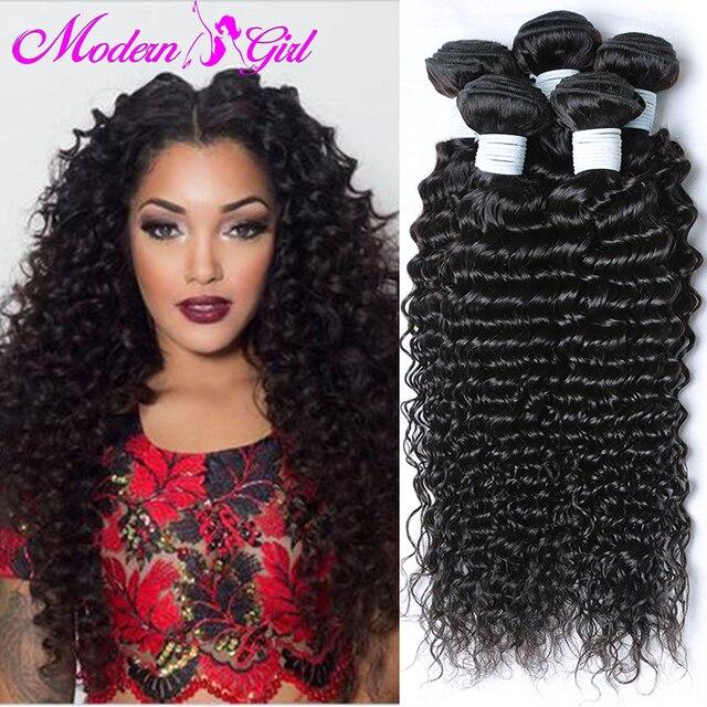 Top Malaysian Virgin Hair Deep Wave 4 Bundles 7a Curly Weave Human