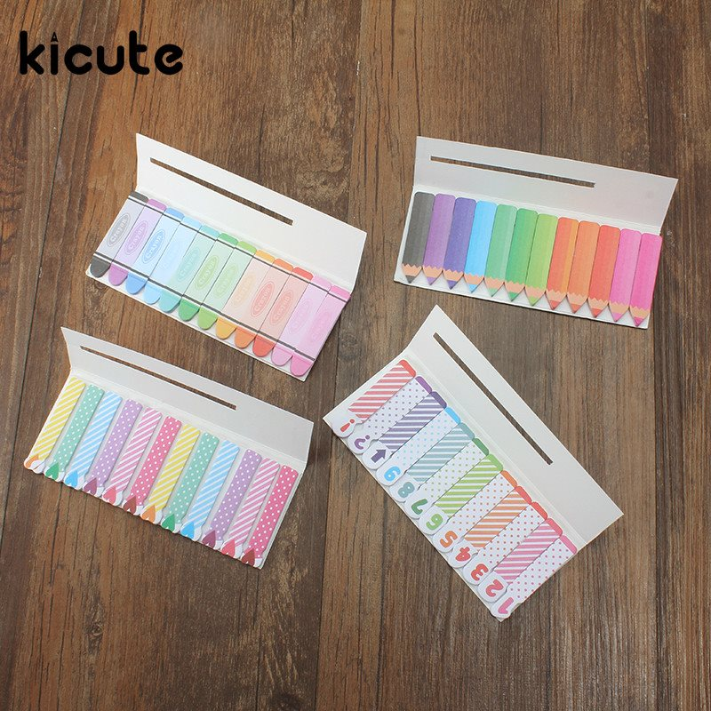 Kicute Crayon Pencil Heart Number Sticky Notes Memo Pad Page Index Flag Planner Stickers Scrapbooking School Office Supplies 120 page apple shaped memo pad