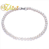 ZHIXI Maxi Natural Pearl Jewelry Baroque 9 10mm Real Freshwater Pearl Choker Necklaces For Women