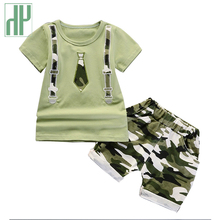 Summer Kids Boys Clothes Camouflage Gentlemen Short Sleeves T-shirt Children's Clothing Suit Toddler Girls Outfits Set 0 3 Years