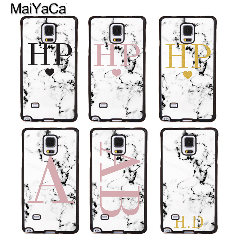 MaiYaCa PERSONALISED PINK MARBLE INITIALS Phone Cases For Samsung Galaxy S5 S6 S7 edge Plus S8 S9 plus Note 4 5 8 Cover Shell