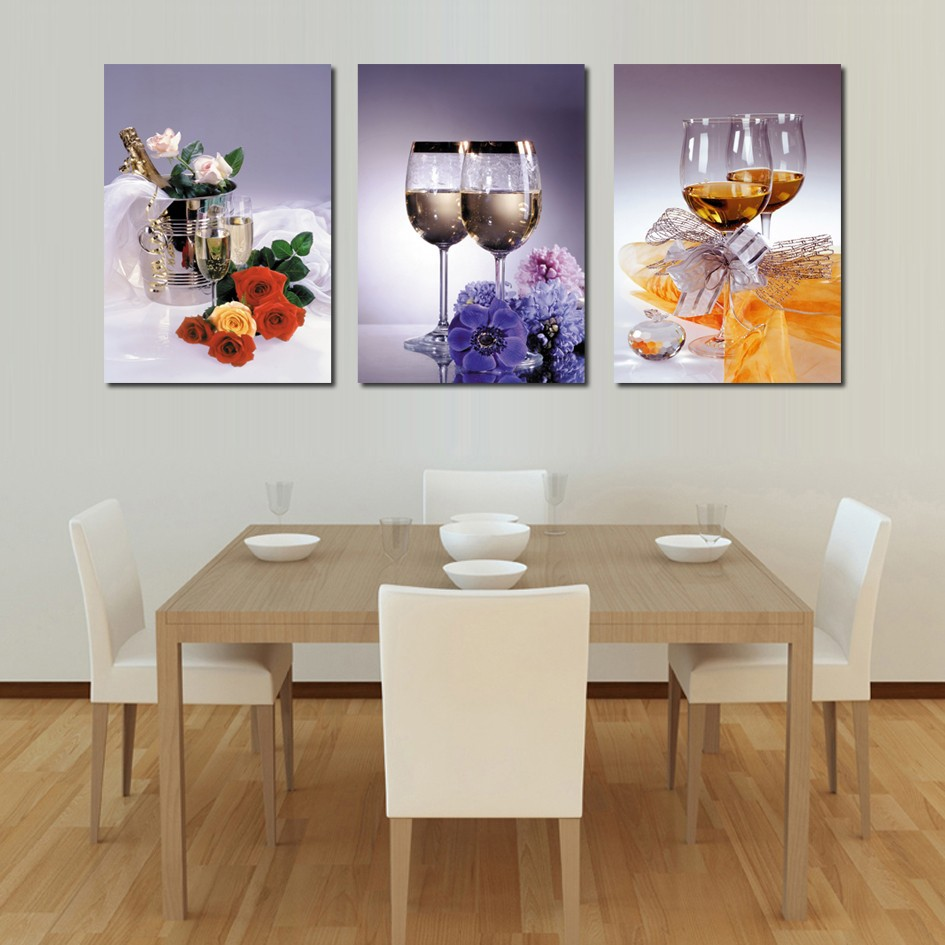 Quadros De Parede Cuadros Canvas Painting 3 Panel Canvas Art Home Decoration Wall Dinning Room Set Wine Glasses Painting Kitchen  wall art set of 9 | Contemporary Metal Wall Art – Set of 9 Made out of Aluminum Quadros De Parede Cuadros Canvas Painting 3 Panel Canvas font b Art b font Home Decoration