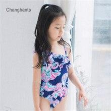 Baby Girls Swimwear Dark Blue and Classical Flower Pattern 2 8 Y Children One piece Swimsuit