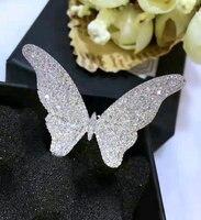 Sinzry נקה הלבן cut מעוקב זירקון הגדרת מיקרו טבעות פרפר jewerly הצהרת אופנה טבעות אצבע מתכוונן