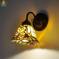 Continental mirror front flower Gimcheon small wall lamp antique Tiffany nostalgic glass hall balcony aisle lighting toilet