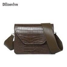 Diinovivo из искусственной кожи небольшой квадратный мешок Новый Широкий Сумка Винтаж крокодил узор Мода простая сумка-портфель FemaleDNV0727