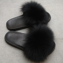 JKP Womens Furry Slippers Ladies Cute Plush Fox Hair Baby Fur four seasons for Women Hot