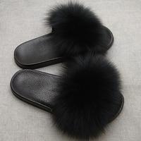 JKP Women's Furry Slippers Ladies Cute Plush Fox Hair Slippers Baby Fur Slippers four seasons Slippers for Women Hot