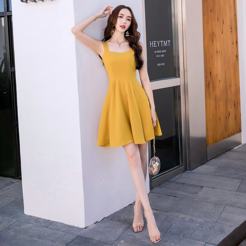 Plus Size Yellow 2019 Summer Dress Women Pleated Tank Slim Mini Dress Club Wear for Ladies Square Collar Sleeveless Beach Dress in Dresses from Women 39 s Clothing