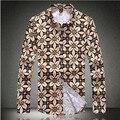 New Arrival Dress Shirts Mens Plus Size 5XL Brand Luxury Shirt Men Business Flower Printed Men's Shirt Marcas Autumn Style
