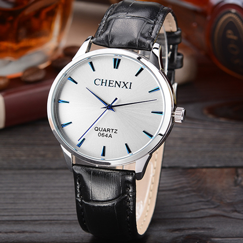 High Quality No Fade CHENXI Japan Movt 3 Years Life Leather Quartz Wristwatches Wrist Watch for Men Black Brown 064A OP001