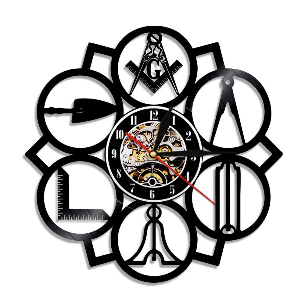 US $17 1 10% OFF|1Piece Masonic Free Mason Logo Vinyl Record Wall Clock  Vintage 3D Handmade Home Decor Clock Wall Art-in Wall Clocks from Home &