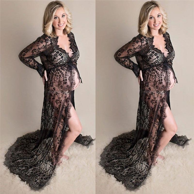 maternity beach dress long lace dress pregnant dress women pregnant photography props transparent lace dress pregnancy